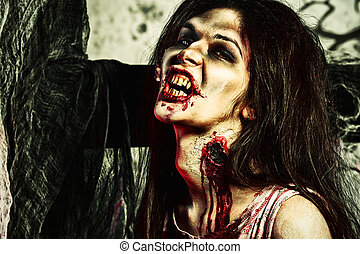 zombie kiss - Bloodthirsty zombi standing at the night...