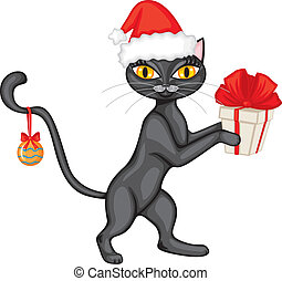 Cat in the cap with a gift - Cat in the red cap is a gift...