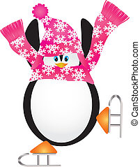 Penguin Skating Pirouette Illustration - Christmas Penguin...