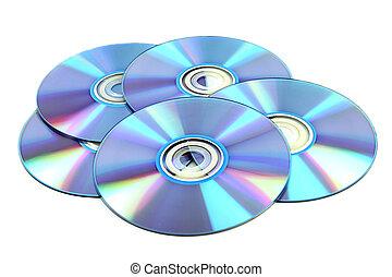 CD & DVD disk on white background
