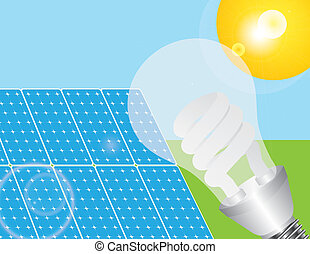 Solar Panels and Eco Light Bulb Illustration - Solar Panels...
