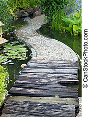 walkway path over Lotus pond