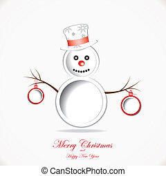 Christmas background with snowman and text place