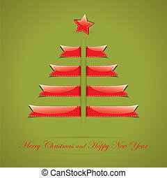 Christmas card with text place in form of Christmas tree