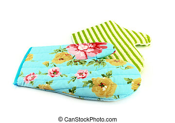 two oven gloves in cyan and green
