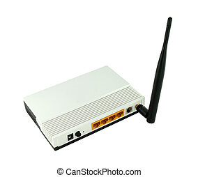 Wireless router isolated on white background
