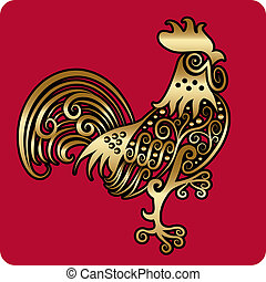 Golden rooster ornament - Rooster with golden decorative...