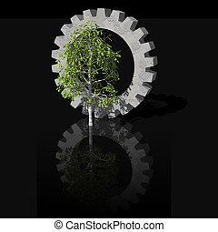 birch and gearwheel - gearwheel and birch tree on black...