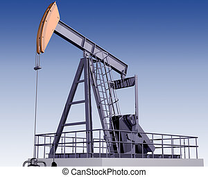 Oil Rig - Illustration of an oil rig on a clear day
