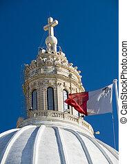church with maltese flag malta detail - malta church dome...