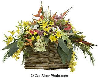 Flowers in Reed Flowerpot