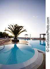 swimming pool greek islands santorini - swimming pool with...