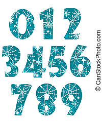 Numbers, made of snowflake isolated on white background.