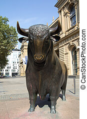 Frankfurt Stock Exchange - The Bull Statue at the Frankfurt...
