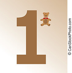 Vector illustration of teddy and number 1