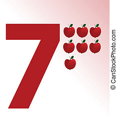Vector illustration of apple and number 7