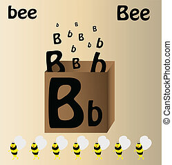 """Vector illustration of bee and english letter """"B"""""""