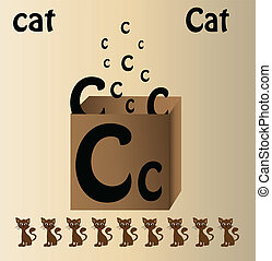 Vector illustration of cat and english letter quot;Cquot; -...