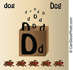 Vector illustration of dog and english letter quot;Dquot; -...