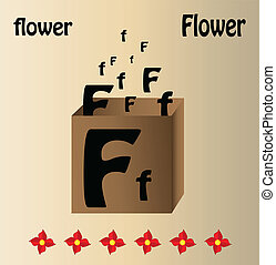 Vector illustration of flower and english letter quot;Fquot;...