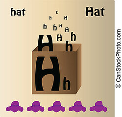 """Vector illustration of hat and english letter """"H"""""""