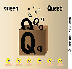 "Vector illustration of queen and english letter ""Q"""