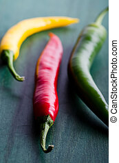 three coloured chilli - a green, yellow and red chilli