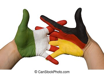 handshake between germany and italy - one hand with german...
