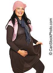 Laughing pregnant woman