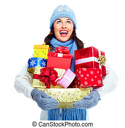 Beautiful christmas girl with gifts - Beautiful christmas...