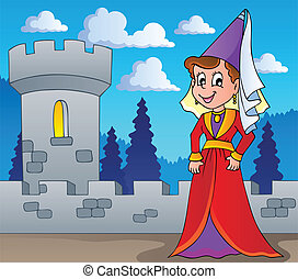 Medieval lady theme image 1 - vector illustration.