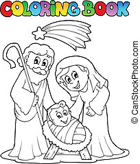 Coloring book Nativity scene 1 - vector illustration