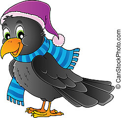 Cartoon raven theme image 1 - vector illustration