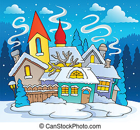 Winter town theme image 2 - vector illustration