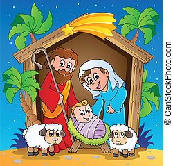 Christmas Nativity scene 3 - vector illustration