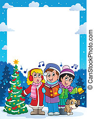 Christmas theme frame 9 - vector illustration.