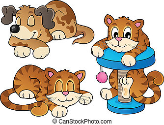 Various pets collection 1 - vector illustration