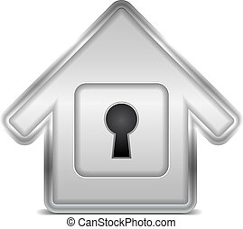 Icon of a house with keyhole