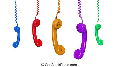 Five colored phones hanging isolated on white background