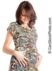 21 weeks happy pregnant woman - 21 weeks happy pregnant...