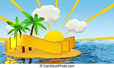 tropical island with palm and golden ribbon