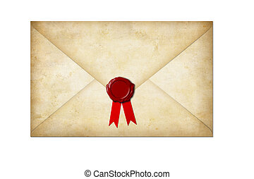 old paper letter with wax seal and bow isolated on white