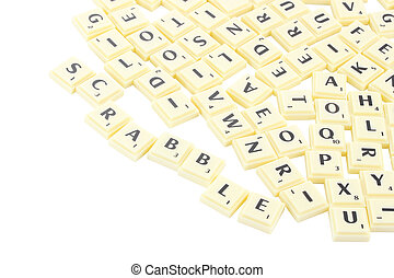 Scrabble piece block on white background.