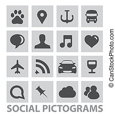 abstract social pictograms symbols set isolated - abstract...