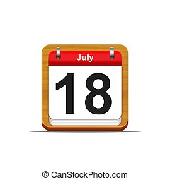July 18. - Illustration elegant wooden calendar on white...