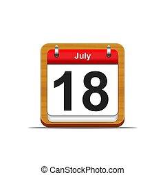 July 18. - Illustration elegant wooden calendar on white...
