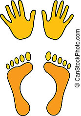 hands and feet - hand and feet symbol vector illustration
