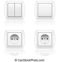 electric socket and switch vector