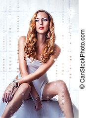 sexy beautiful woman in white shirt