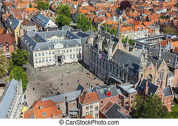 Aerial view of Bruges (Brugge), Belgium - Aerial view of the...